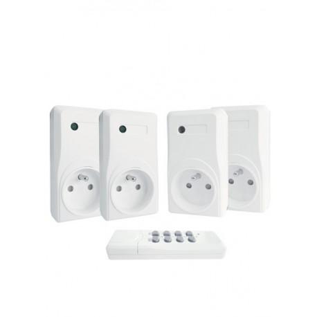 Kit de 4 prises télécommandées blanches