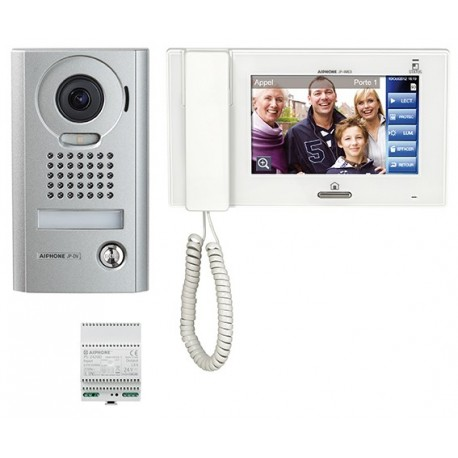 Kit vidéo saillie comprenant :1 platine JPDV, 1 moniteur JP4MED & 1 alimentation PS2420D