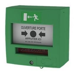 Déclencheur manuel vert 1 contact sans capot  Version française